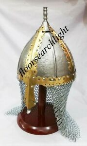 Medieval Antique Armor Norman Viking Helmet With Chain Mail Red Wooden Stand