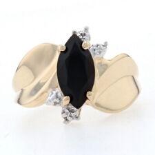 Yellow Gold Onyx & Diamond Bypass Ring - 10k Marquise Cut