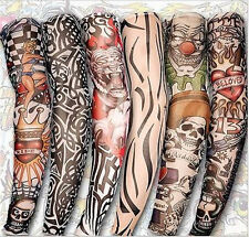 6pcs Mix Design New Stretch Nylon Fake Temporary Tattoo Sleeves Arms Fancy Dress
