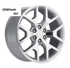 "4) 24"" GMC 1500 Sierra Style Machine Silver Denali Tahoe Chevy Silverado Wheels"