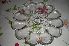 Eierteller Eierplatte Eier Servierteller Servierplatte Pressglas Glas f. 12 Eier