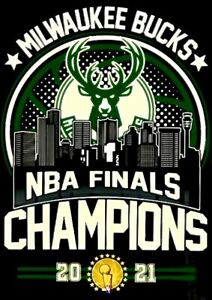 (2) Milwaukee Bucks 2021 NBA Championship Waterproof Vinyl Stickers 5x3.5 Decals