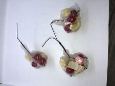 3 VTG Plastic Christmas Popcorn & Cherry Cherries Holly Floral Wreath Picks MIP
