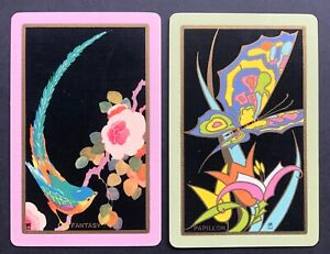 Pair of Vintage Swap/Playing Cards - BIRD AND BUTTERFLY NAMED FANTASY & PAPILLON