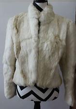 Beautiful Vintage Lined White Rabbit Fur Coat Sz M L#890d