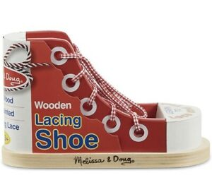 Melissa and Doug - Wooden Lacing Shoe Early Learning Toy/ 3+