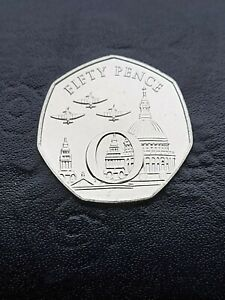 2020 ~ 50p ~ Fifty Pence Coin ~ Isle of Man ~ IOM ~ Victory 'O' ~ UNC
