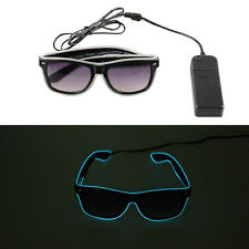 Blue EL Wire Luminescence Sunglasses LED Light Up Flashing EDC Party Glasses New