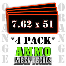 """7.62 x 51 Ammo Label Decals for Ammunition Case 3"""" x 1"""" Can stickers 4 PACK -OR"""