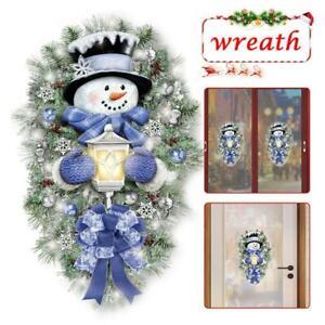 Warm Winter Welcome Snowman Wreath Stickers Christmas Home Door Window-Decal New