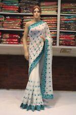 Silk Indian Thread Work Saree Bollywood Designer White Sari Party Wear Dress