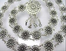 FLOWER VINTAGE THAI SILVER METAL BELT CHAIN LINK COSTUME WOMEN FASHION WEDDING
