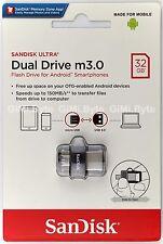 SanDisk 32 GB 32G Ultra Dual USB Drive OTG m3.0 micro USB Android USB 3.0