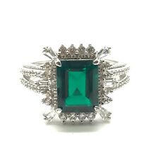 Sterling Silver 925 Cabochon Green Tourmaline CZ Cluster Cocktail Ring 6.75