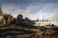 Oil painting River View by Moonlight landscape with carriages cottage canvas