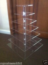 7 TIER CLEAR ACRYLIC SQUARE CUPCAKE CUP CAKES STAND TOWER WEDDING PARTY DISPLAY