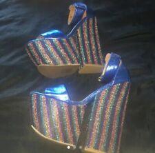 Jeffrey Campbell Blue Platform Block High Heels, Size 5, Never Worn