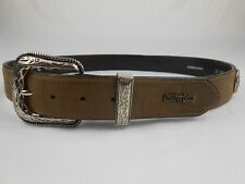 Cuernos Chuecos Leather Belt size 38 Silver Plate Buckle Made in Mexico Wire