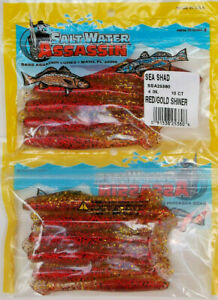 """20 SALTWATER BASS ASSASSIN 4"""" RED GOLD SHINER SEA SHAD"""