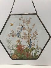 Blue Birds Suncatcher Lyford Painted Art Glass Hexagonal Beveled Ornament 6�W