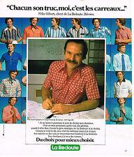 PUBLICITE ADVERTISING 124  1977  LA REDOUTE   chemise homme  FELIX GILBERT