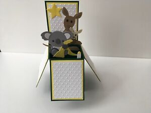 Handmade baby card with Kangaroo and koala  - pop up design