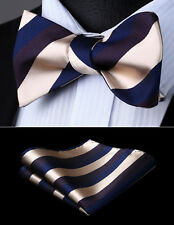 Mens Party Wedding Beige Blue Striped Self Bow Tie Pocket Square Set#BS909BS