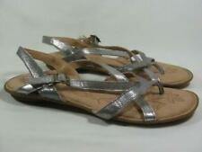 Born Leather Slide Sandal Women size 11 Silver NEW