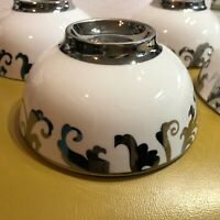 "Set 4 Luxe Ciroa Fiori Scroll Swirl 4 1/2"" Bowls Individual Appetizer"