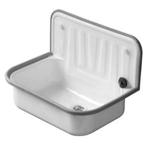 Ausgussbecken Waschbecken Waschküche Keller Stahl Spüle Garten Ausgußbecken weiß