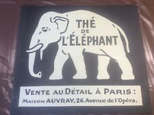 """More details for vintage french sign advertising elephant tea with paris address (black) 18x16"""""""