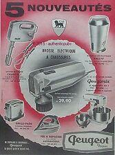 PUBLICITE PEUGEOT FRERES BROSSE BATTEUR ELECTRIQUE ROBOT DE 1960 FRENCH AD PUB