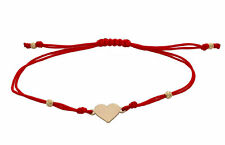 9ct Yellow Gold Love Heart Friendship Red Cord Bracelet