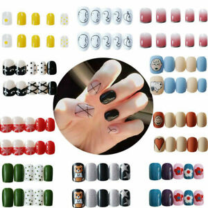 Press-On French Decoration Nails  Fake Nails Full Nail Tips  24 Pieces Finger