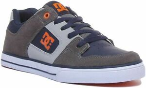 Dc Shoes Pure Lace Up Skate Youth Trainers In Grey Navy UK Size 3 - 6