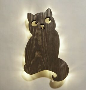 Cat night light Bedside lamp Wooden lighting Natural wall sconce Wood wall lamp