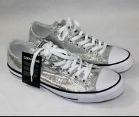 Converse Chuck Taylor All Star Ox Silver Glitter 135851C Unisex Men 11 Women 13