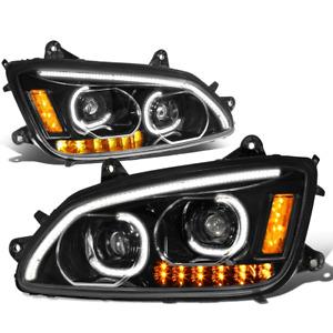 [LED DRL+Turn Signal]Fit 08-19 Kenworth T170 T370 T660 Dual Projector Headlight