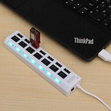 ✓ HUB 7 PORTS USB 2.0 ADAPTATEUR MULTIPRISE POUR ORDINATEUR PC MAC LINUX BLANC