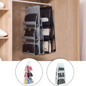 """6 Pocket Hanging Handbag Organizer for Wardrobe Closet Transparent Storage Door"