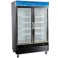 A.C.E. Merchandiser Display Refrigerator, Double Swing Glass Door, 45 Cu.Ft.