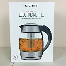 Chefman Electric Cordless Glass Kettle with Tea Infuser & LED Lights 1.8 Ltr