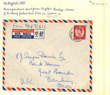 AG280 1957 GB USED ABROAD KOREA Usage Wilding FPO Air Cover ex ANGLICAN BISHOP