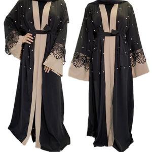 Muslim Women Open Abaya Cardigan Maxi Dress Robe Kaftan Islamic Dubai New
