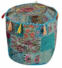 """18"""" Pouf Cover Indian Bohemian Patch Work Embroidered Turquoise Ottoman Cover"""