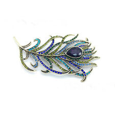 New Vintage Peacock Feather Golden Multi-color Rhinestone Brooch Pins Jewelry