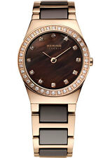 Bering Womens 32426-765 Ceramic Brown Dial Rose Gold Stainless Steel Band Watch