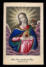 santino incisione 1800 S.CUORE DI MARIA dip. a mano