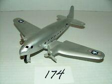 "#1940s Pressed Steel 7.5"" Air Force Transport Airplane w 9.5"" Wingspan #174"