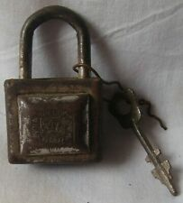 Old vintage iron door lock key rusty small cabinet padlock working condition